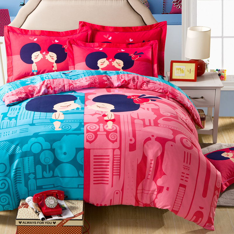 Dressed up cartoon brushed cotton three/family of four thick warm spring and autumn children's dormitory girls autumn and winter bedding