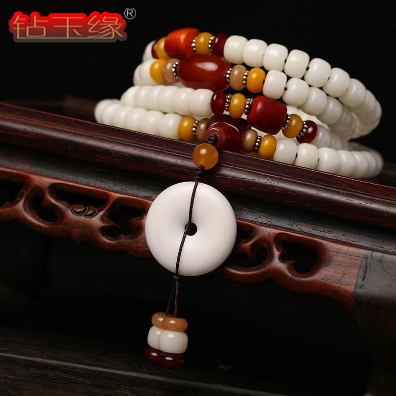 Drill edge white pu tizi 108 prayer beads bracelet peace buckle necklace multiturn bracelets for men and women sweater chain