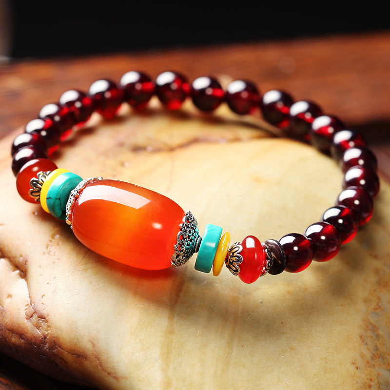 Du lala natural burgundy garnet crystal bracelet female jewelry jewelry accessories agate beads bracelets lap