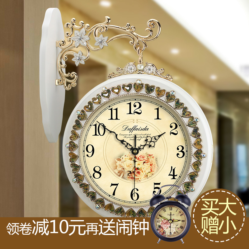 Duff european solid wood sided tuba mute quartz wall clock antique clocks pastoral living room wall clock creative clock