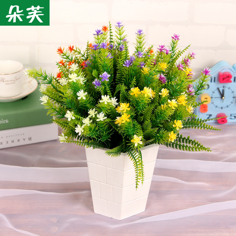 Duo fu simulation pine small floral green plants decorative floral leaf restaurant compartment broken decorative flowers placed flowers