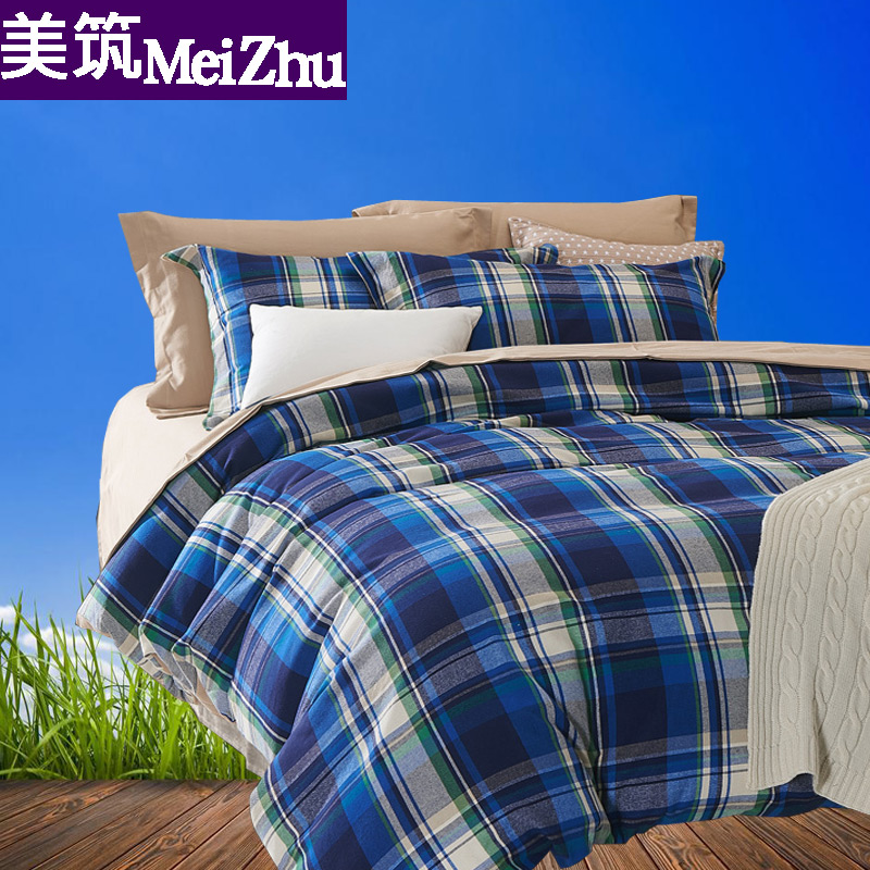Dyed brushed cotton denim thick warm autumn and winter thick cotton 4 sets of 1.5/8m2 m bed 13.358kj
