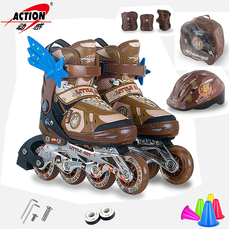 Dynamic skates skates adjustable children's full suite flash inline skates for men and women small children 132d skates