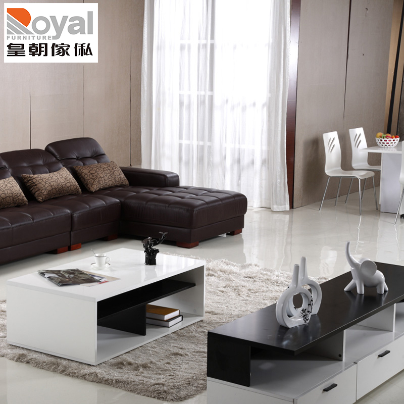 Dynasty furniture minimalist modern coffee table tv cabinet combination packages furniture stylish black and white paint white light