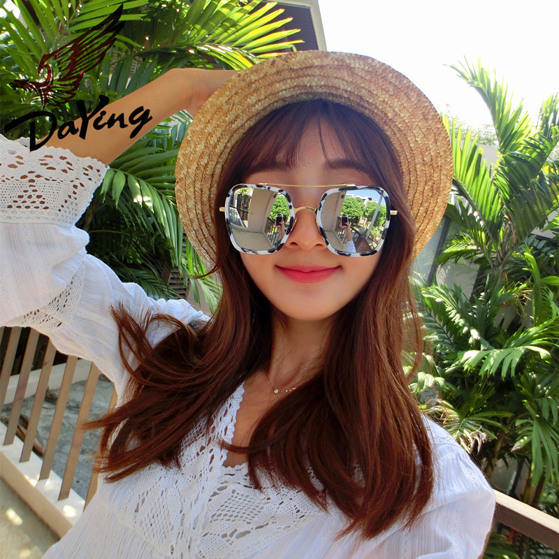 Eagle darvin reflective color film frame sunglasses european and american retro elegant fashion wild male and female models influx of big box cosmetic