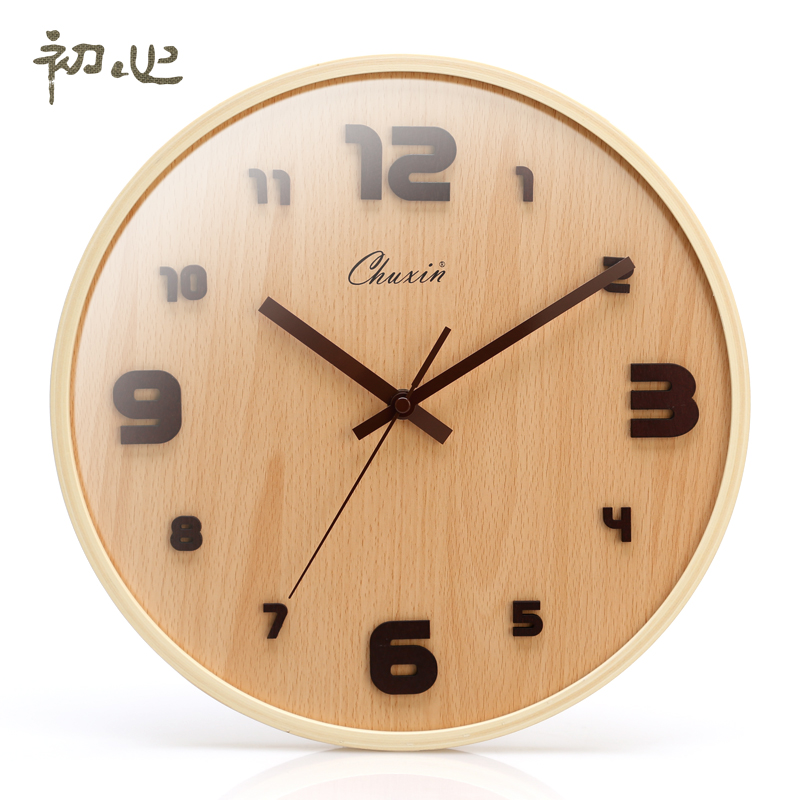 Early heart 24 hours euclidian made wooden table muted fashion watches modern art living room wall clock creative home