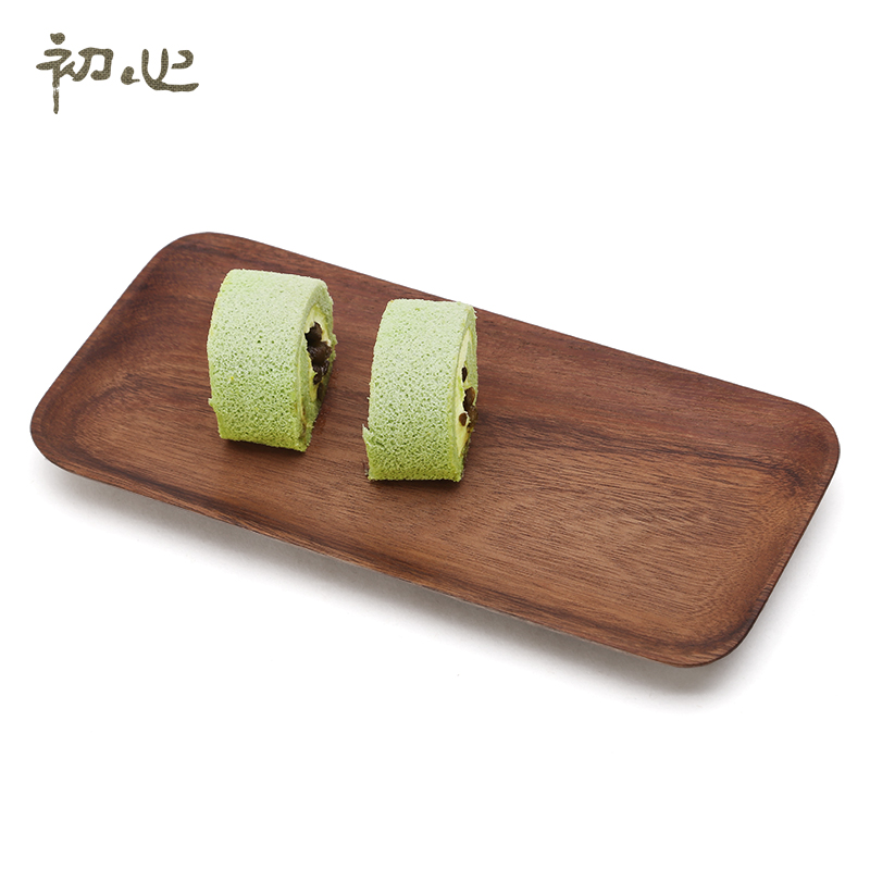 Early heart acacia wood rectangular wooden tray cup breakfast dessert dish fruit surface package small wooden tray tray tray