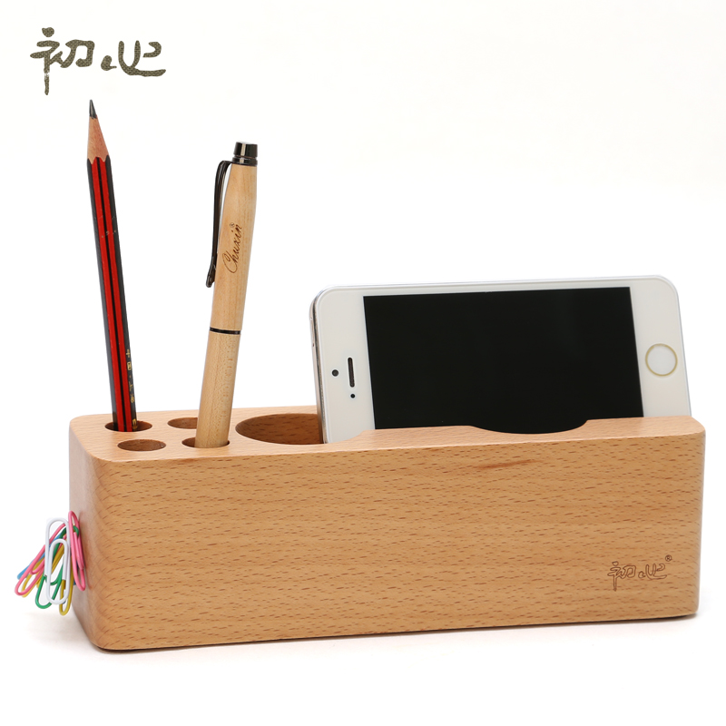 Get Ations Early Heart Porus Phone Holder Wooden Pen Creative Fashion Multifunction Cell Desktop Office