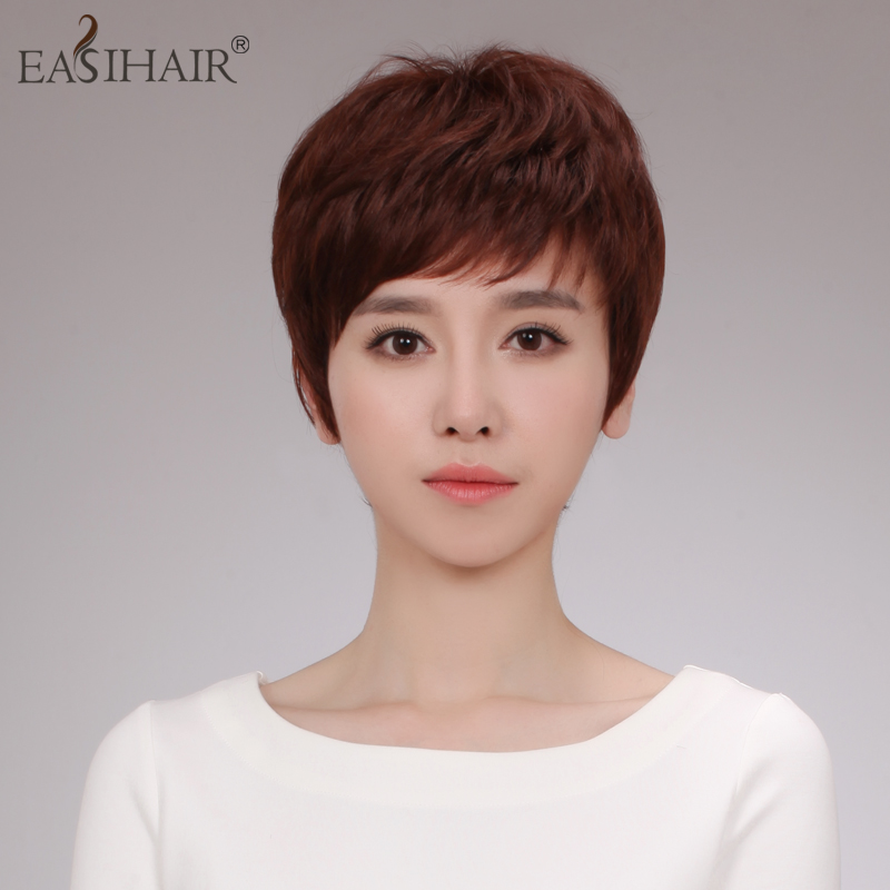 Easihair real hair wig short hair short straight hair real hair hand woven ms. entire top real hair wig