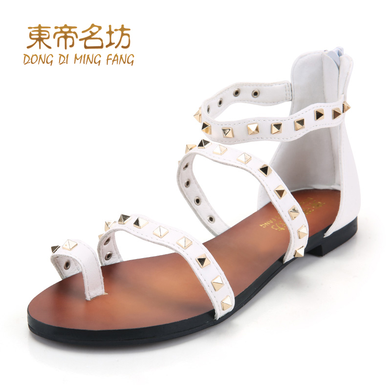 East timor were square 2015 word buckle open toe flat sandals female summer waterproof sandals wild comfortable sandals