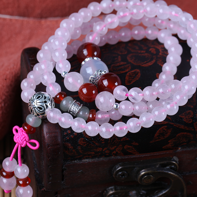 Eastbound record 108 prayer beads bracelet rose quartz natural rose quartz crystal bracelet female multi layer beads bracelet female