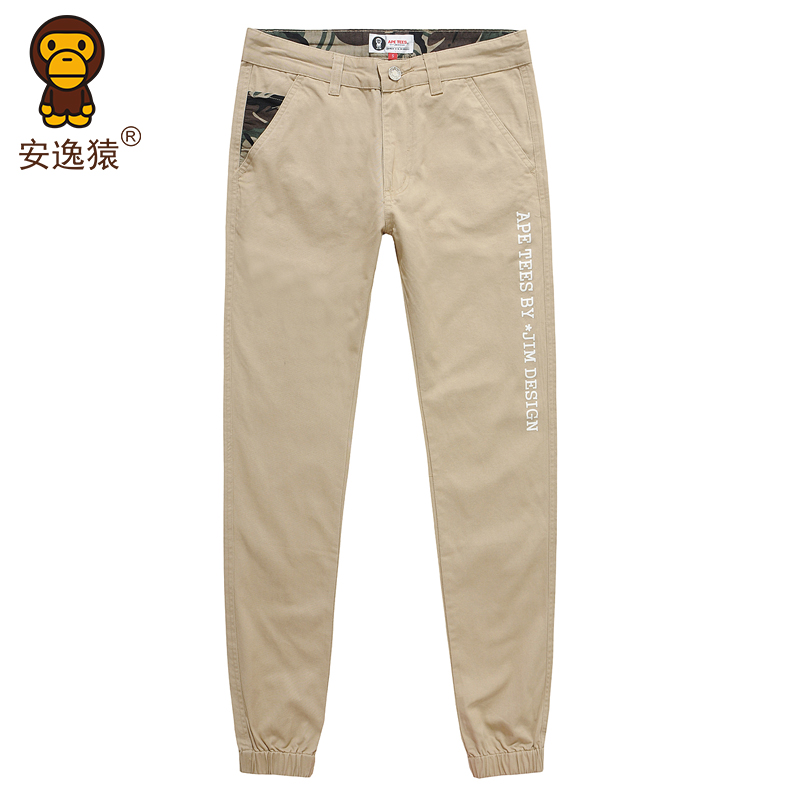 Easy ape 2016 spring and summer new men's casual pants trousers tight pants feet large size casual long pants AP27LKZK012
