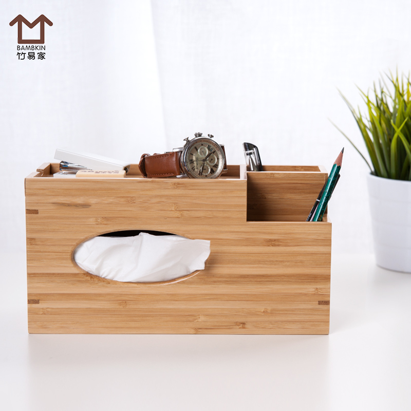 Easy home bamboo wood bamboo tissue box tissue box multifunctional living room napkin box creative car pumping tray household storage