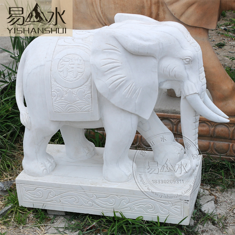 Easy to plant landscape stone carving carved white marble stone elephant elephant good luck lucky elephant ting yuan park decoration