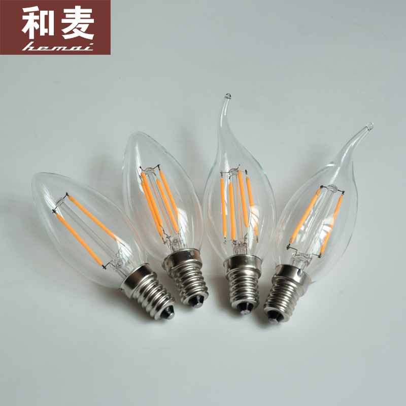 Edison incandescent light crystal chandelier lamp super bright led bulb tip candle bulbs pull the tail of small screw e14 light source