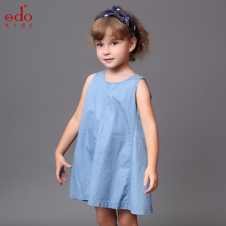 Edo1 degree childrenwear small children in child girls new spring and summer leisure wild round neck sleeveless denim sleeveless dress