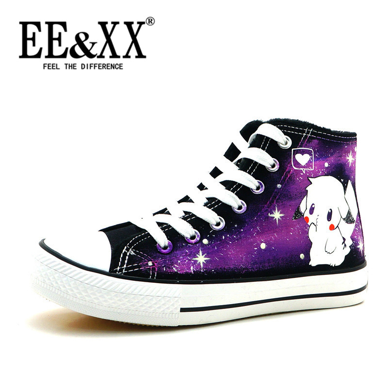 EEXX2016 pikachu cartoon luminous painted shoes personalized canvas shoes korean version of the new casual shoes 7196