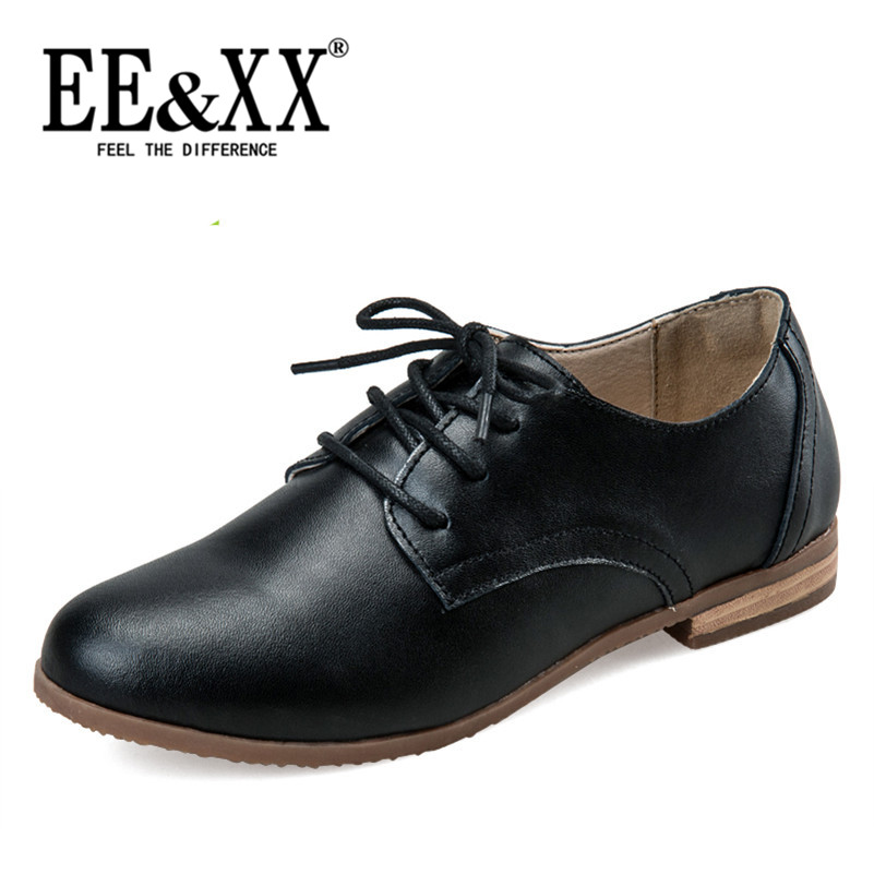 EEXX2016 spring new england deep mouth round low shoes stylish and comfortable flat with solid color casual shoes 2155