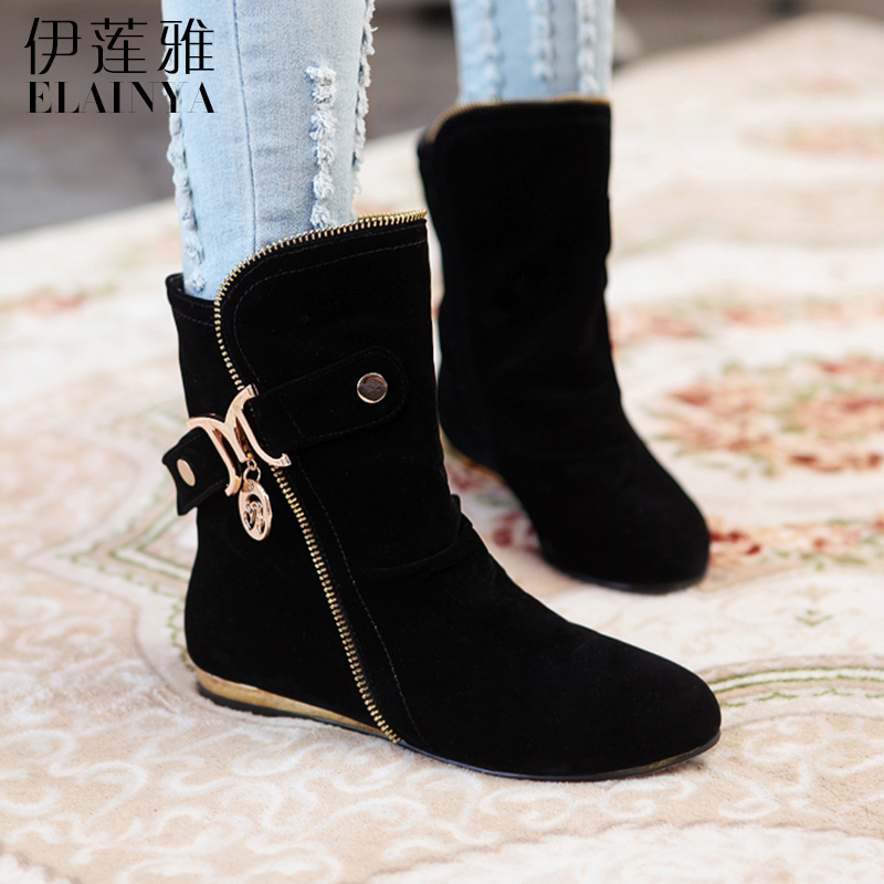 Elaine ya spring new european and american frosted comfortable low heel casual round belt buckle martin boots women boots autumn