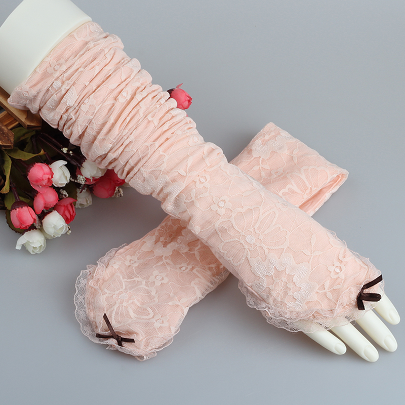 Electric car sun gloves summer driving long section of ms. thin section of the spring and autumn outdoor half finger arm ice lace cuff