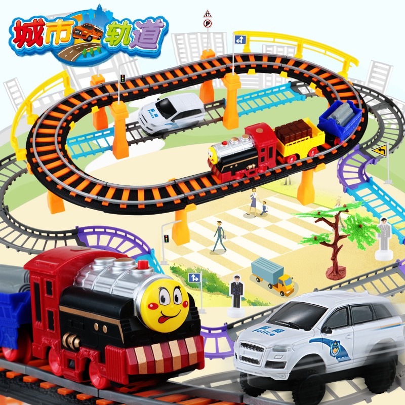 Electric train track rail cars children's toy racing track suit small locomotive thomas car birthday gift