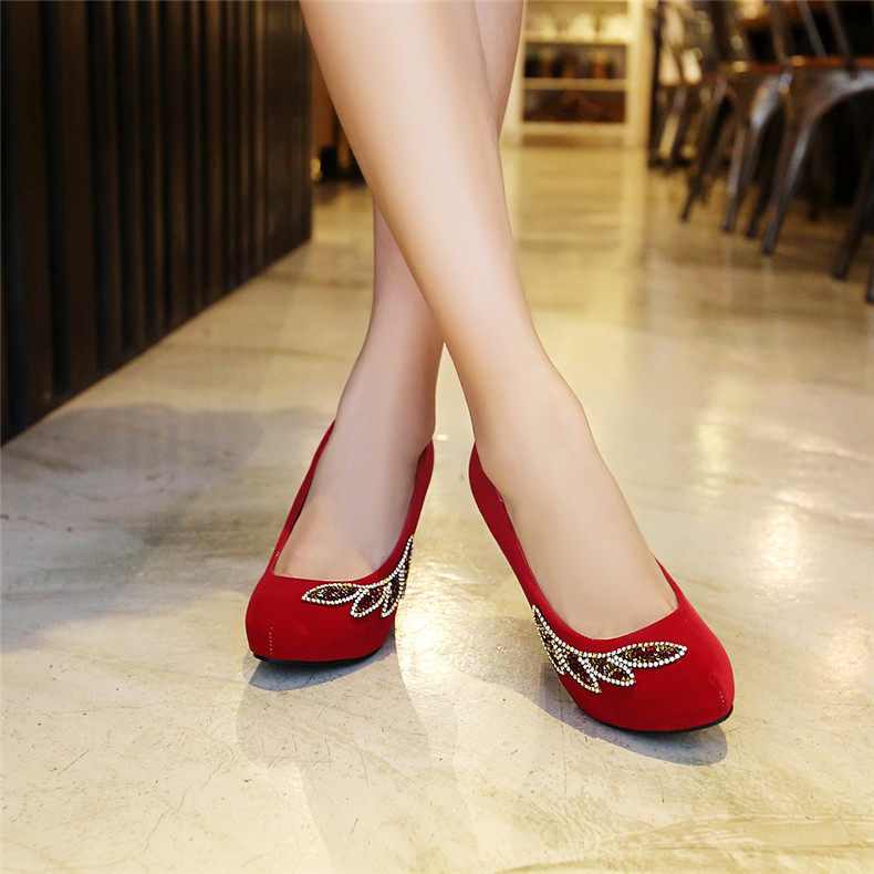 Elegant red diamond wedding shoes bridal shoes party shoes super high heels 10cm thick with singles shoes wedding shoes matte