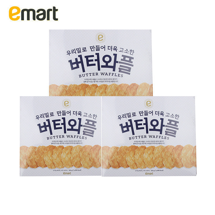 Emart easy to buy south korean imports of wheat butter crackers waffles 316g * 3 breakfast biscuit pizza
