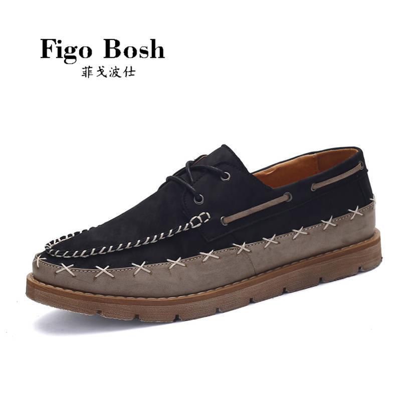End custom brand figobosh 2016 autumn new men's round lace shoes within the higher tide shoes