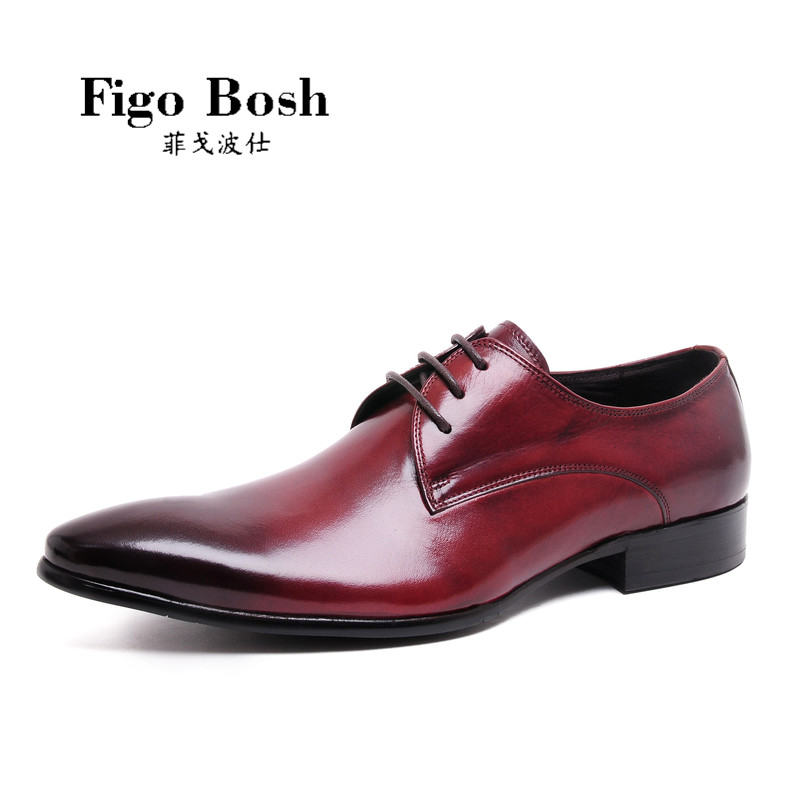 End custom brand figobosh autumn new leather men's british style pointed lace fashion shoes