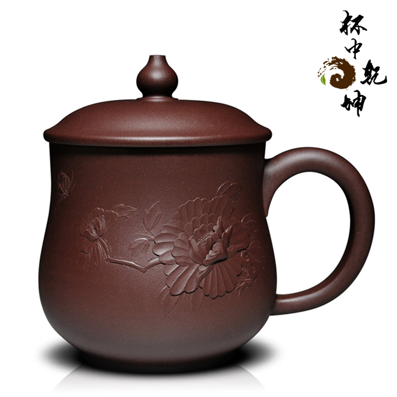 End! large ore yixing purple clay tea cup famous handmade purple clay teapot heap flowers painted peony boutique collection