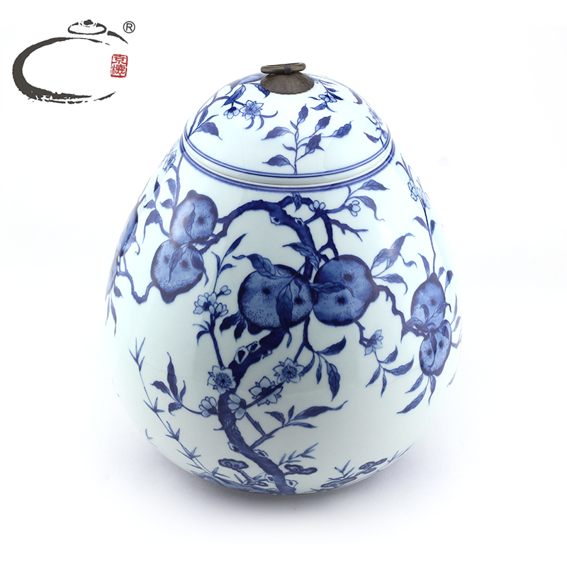 End of gui xiang painted ceramic tea caddy jingdezhen blue and white peach queen woke chaguan sealed cans canister