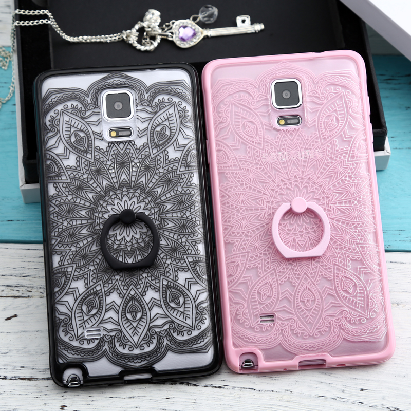 Enoch note4 samsung phone shell note4 n9100 protective sleeve silicone soft side openwork lace ring bracket
