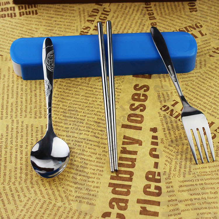 Environmental portable stainless steel tableware suit student travel chopsticks spoon fork cutlery box parure shipping