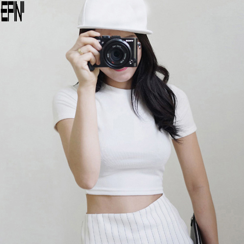 Epin11 lo shi tight summer cotton solid color short sleeve t-shirt female korean slim round neck slim bottoming shirt tide