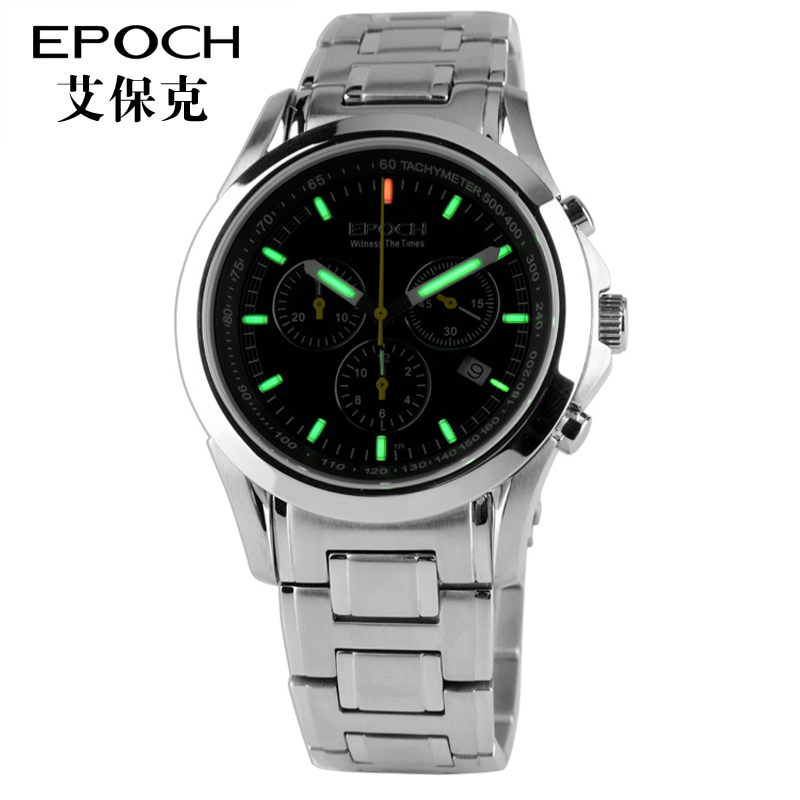 Epoch gaseous tritium light h3 chronograph men's watch chronograph stopwatch luminous quartz watches shipped move stainless steel table 6022