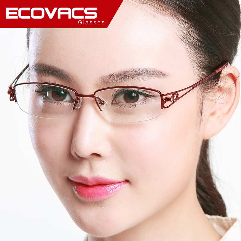 Equipped with reading glasses lightweight titanium frames myopia half frame glasses frame female chromotropic temperament fresh glasses glasses frame glasses