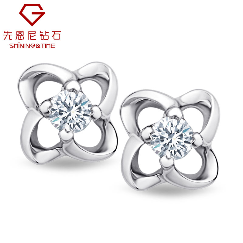 Ernie clover diamond earrings k white gold diamond stud earrings female models fine diamond earrings three color options