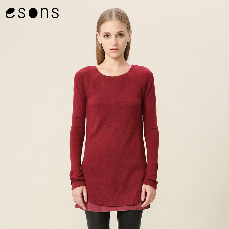 Esons/love the city of long sleeve raglan long section fake double hit material hedging sweater bottoming female 862531