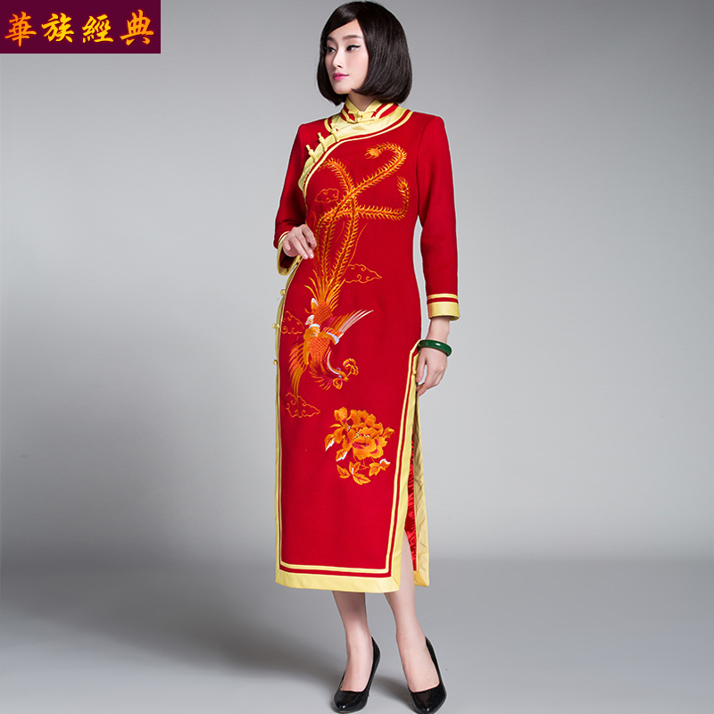 Ethnic chinese classic sided wool embroidery red bride wedding etiquette cheongsam dress chinese dress long section of the autumn and winter