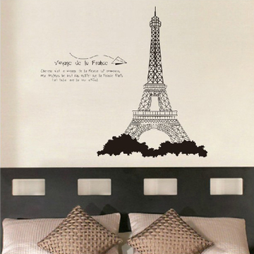 Euclidian eiffel tower wall stickers removable wall stickers living room backdrop bedroom cozy bed klimts