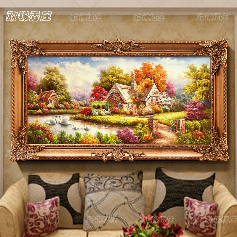 Euclidian stitch living room diamond paste diamond drill painting full round diamond drill diamond embroidery living room garden hut landscape rubik's cube