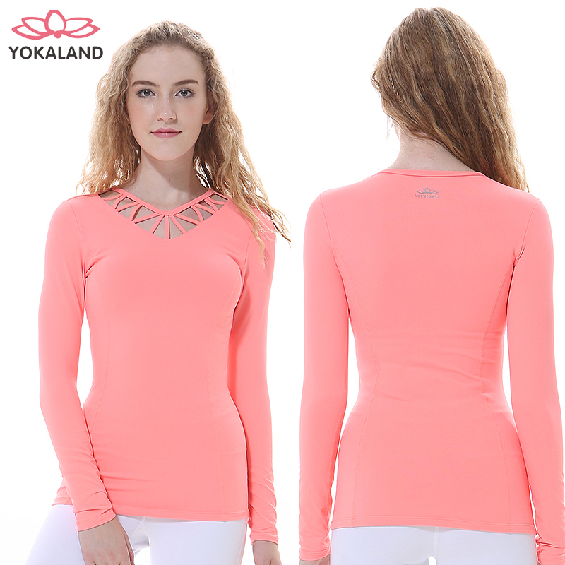 Eukanuba lotus 2016 new winter significantly thin hollow sexy long sleeve shirt yoga clothes workout clothes BTW066
