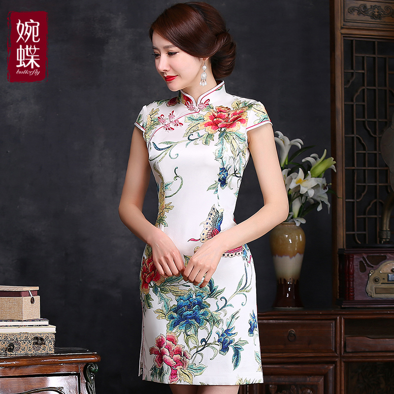 Euphemised skipperling darvin mulberry silk cheongsam dress summer double elastic slim retro short paragraph cheongsam dress women