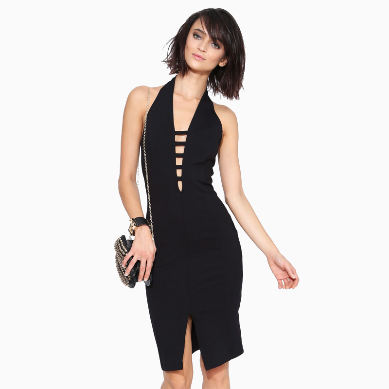 Europe and the united front slit skirt sexy halter deep v halter tight package hip dress banquet skirt haoduoyi