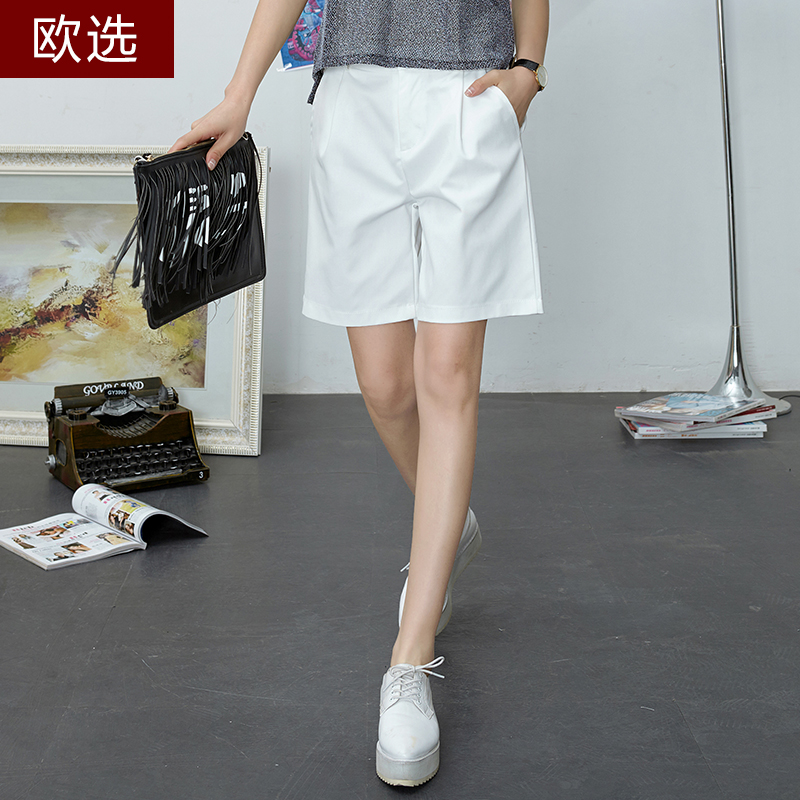 Europe elect new loose solid color simple and stylish casual shorts female summer was thin and elegant wide leg pants five pants summer thin section