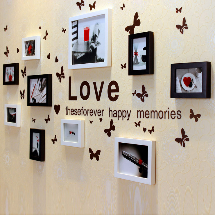 Europe feng european solid wood bedroom living room photo wall photo frame creative combination photo wall photo frame wall stickers wall shipping