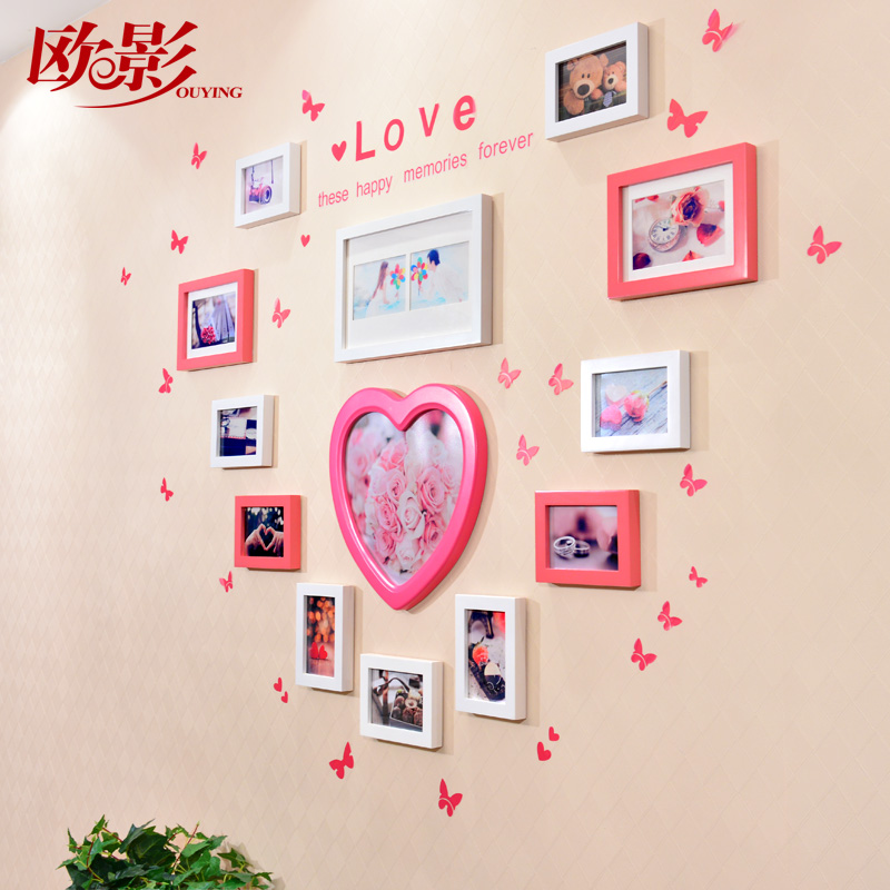 Europe shadow 7 solid wood frame wall combination of creative wedding photo frame photo frame shaped object picture frame wedding ceremony 9211