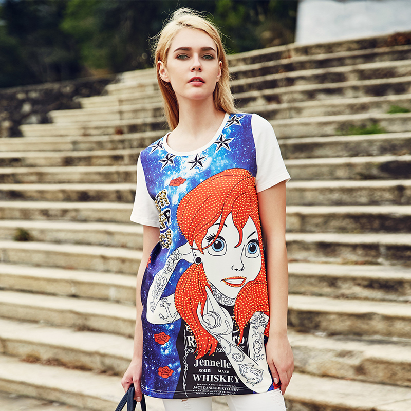 Europe station 2016 summer new european cargo loose cartoon printing hot drilling short sleeve t-shirt and long skirt female tide