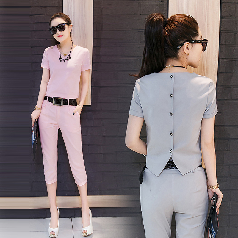 Europe station 2016 summer new fashion women's suit was thin pant women's summer chiffon piece slim
