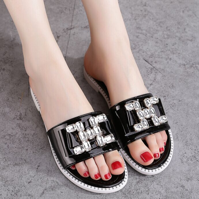 Europe station 2016 summer new flat sandals rhinestone slippers female flat with a font sandals students sandals and slippers female drag